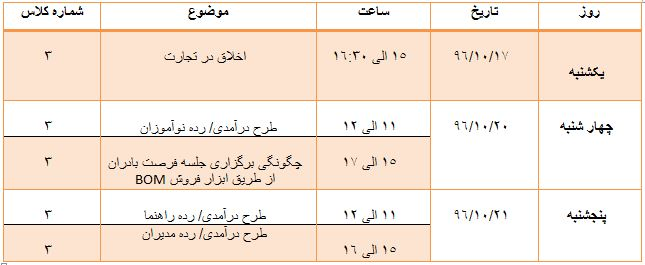 برنامه کلاس های آموزشی گروه KAD  در هفته سوم دی ماه