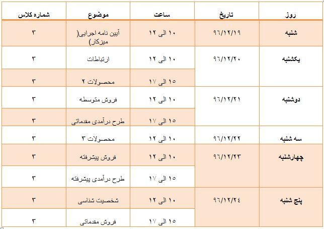 برنامه کلاس های آموزشی در هفته چهارم اسفند